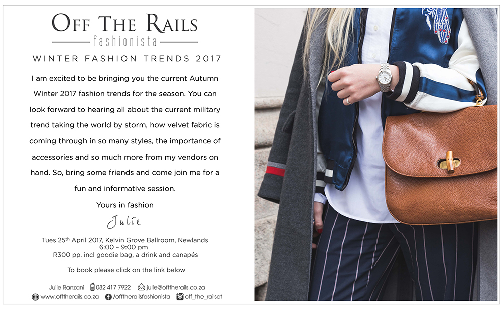 Winter 2017 fashion trend event from Offtherails
